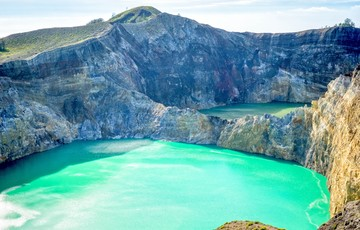 The tri-coloured lakes at Kelimutu