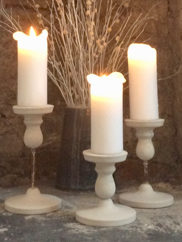 In Memorium Candlesticks in white cement