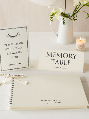 A4 Memory Book, 'Share Your Memories Here' Sign & 'Memory Table' Sign