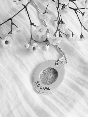 Fingerprint Pendant on Silver Ball Chain - Memory Treasures